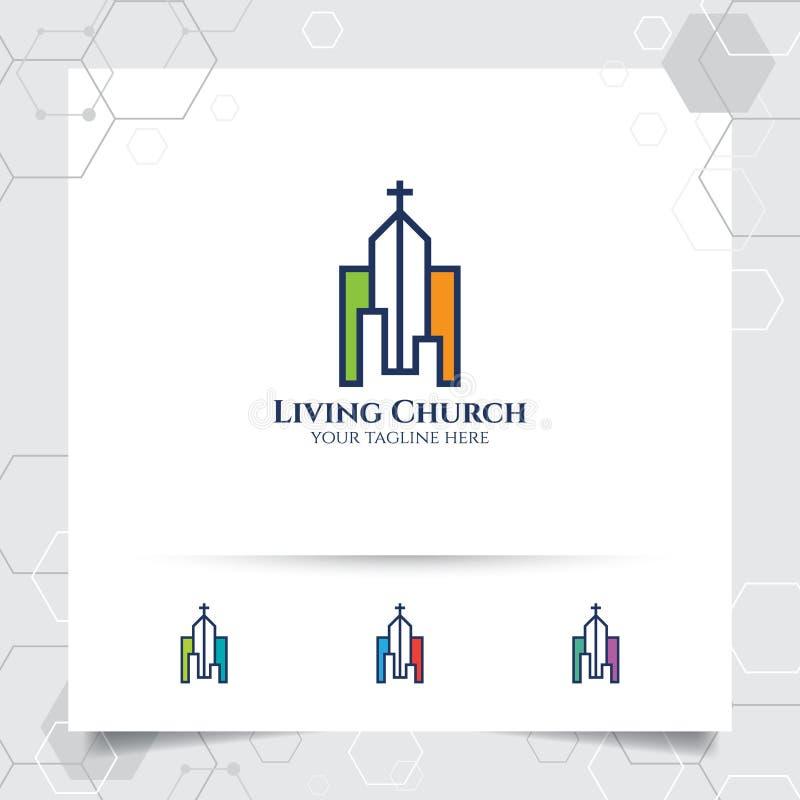 Χριστιανικό διαγώνιο διάνυσμα σχεδίου λογότυπων με μια απεικόνιση εικονιδίων εκκλησιών απεικόνιση αποθεμάτων
