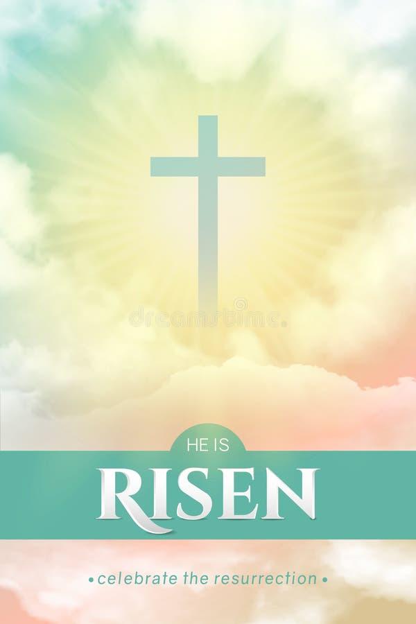 Χριστιανικό θρησκευτικό σχέδιο για τον εορτασμό Πάσχας Ορθογώνιο κάθετο διάνυσμα απεικόνιση αποθεμάτων