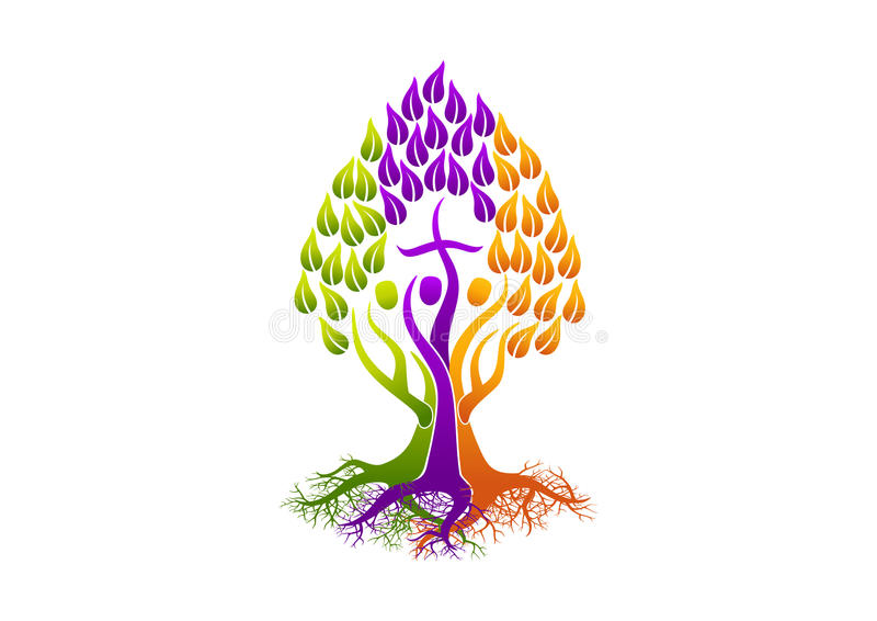 Χριστιανικό λογότυπο ανθρώπων, ιερό δέντρο πνευμάτων εικονιδίων ρίζας, διανυσματικό σχέδιο συμβόλων οικογενειακών εκκλησιών ελεύθερη απεικόνιση δικαιώματος