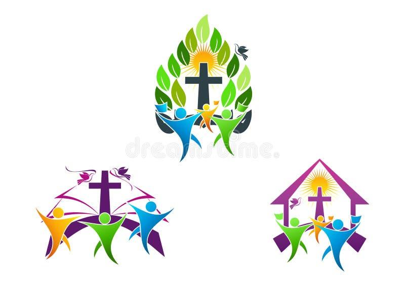 χριστιανικό λογότυπο εκκλησιών ανθρώπων, Βίβλος, περιστέρι και θρησκευτικό σχέδιο συμβόλων οικογενειακών εικονιδίων απεικόνιση αποθεμάτων