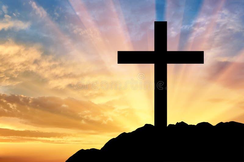 Χριστιανισμός θρησκείας Διαγώνια σκιαγραφία στοκ εικόνα