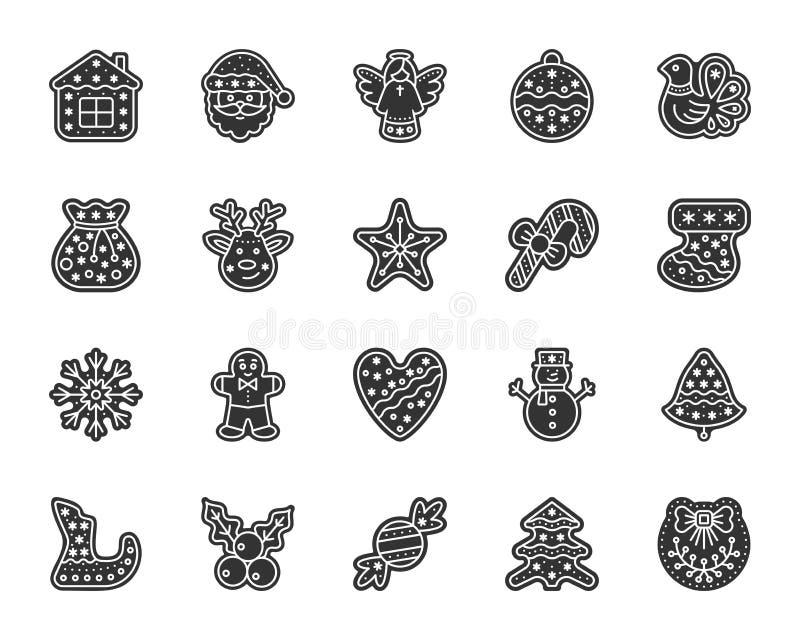 Χριστουγέννων διανυσματικό σύνολο εικονιδίων glyph μελοψωμάτων μαύρο ελεύθερη απεικόνιση δικαιώματος