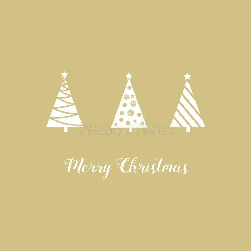 Χριστουγέννων ευχετήριων καρτών τα άσπρα δέντρα έλατου τριγώνων γραφικά αφηρημένα, αστέρι, μπιχλιμπίδια, χιόνι ξεφλουδίζουν, εγγρ διανυσματική απεικόνιση