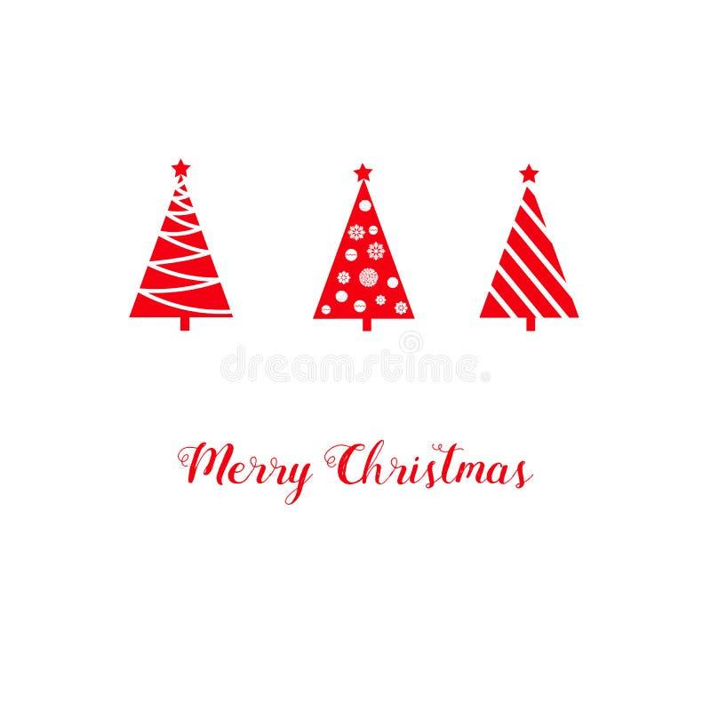 Χριστουγέννων ευχετήριων καρτών τα κόκκινα δέντρα έλατου τριγώνων γραφικά αφηρημένα, αστέρι, μπιχλιμπίδια, χιόνι ξεφλουδίζουν, γρ διανυσματική απεικόνιση