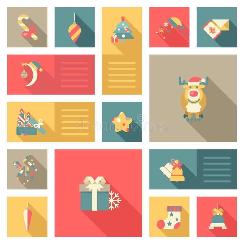 Χριστουγέννων νέα έτους γλυκά ύφους εικονιδίων καθορισμένα επίπεδα απεικόνιση αποθεμάτων
