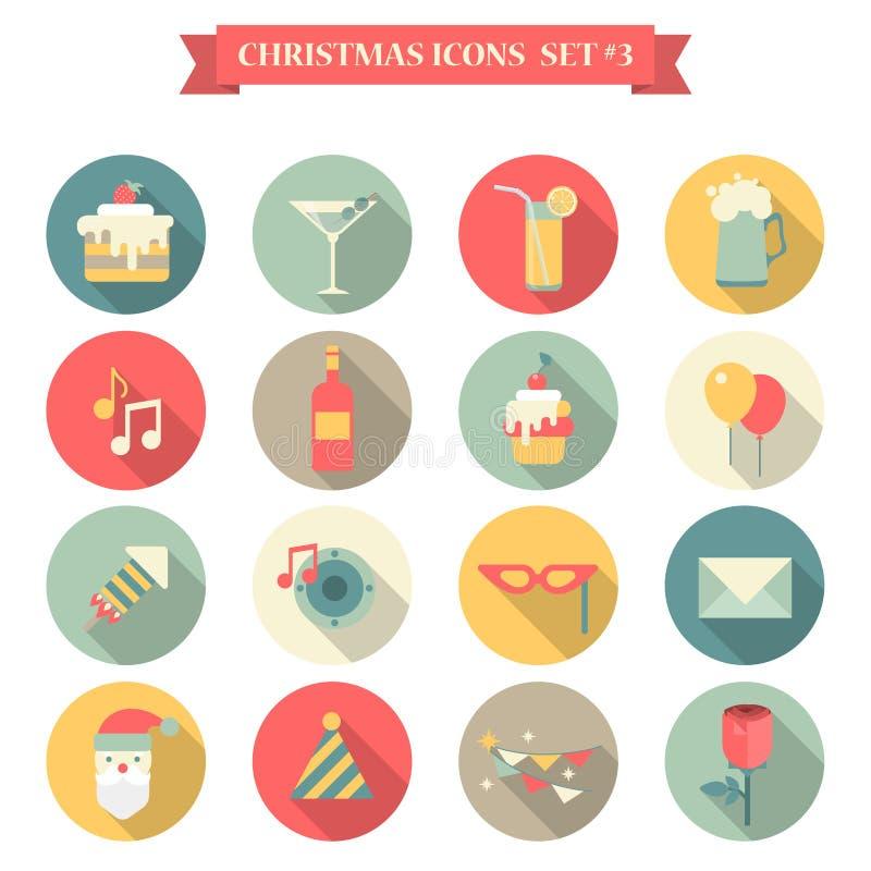 Χριστουγέννων νέες έτους διακοσμήσεις ποτών γλυκών ύφους εικονιδίων καθορισμένες επίπεδες διανυσματική απεικόνιση