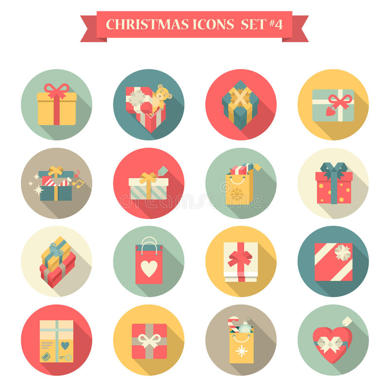 Χριστουγέννων νέο έτους κιβώτιο δώρων τσαντών αγορών ύφους εικονιδίων καθορισμένο επίπεδο ελεύθερη απεικόνιση δικαιώματος