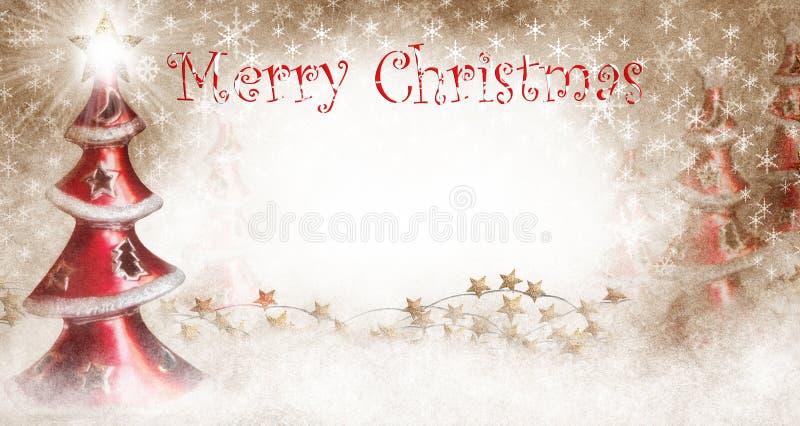 Χριστουγεννιάτικα δέντρα με τη Χαρούμενα Χριστούγεννα ελεύθερη απεικόνιση δικαιώματος
