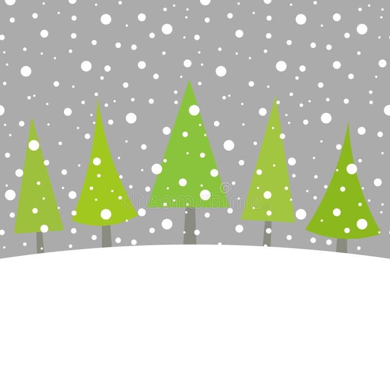 Χριστουγεννιάτικα δέντρα στο χειμερινό τοπίο απεικόνιση αποθεμάτων
