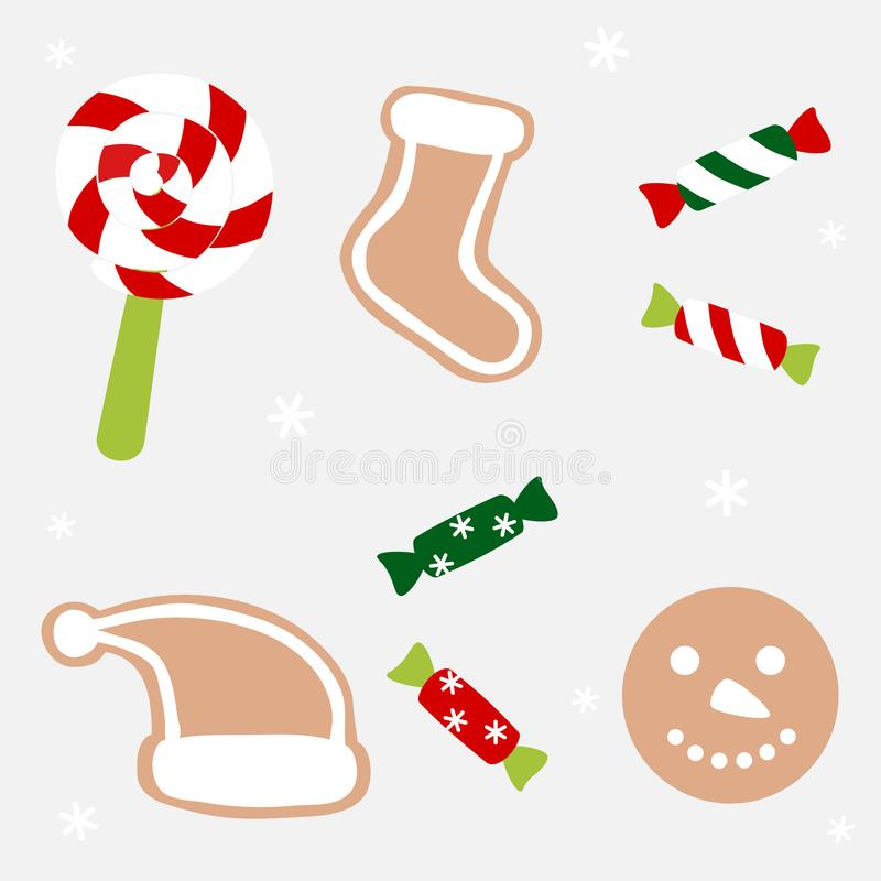 Χριστουγεννιάτικα γλυκά και μπισκότα απεικόνιση αποθεμάτων
