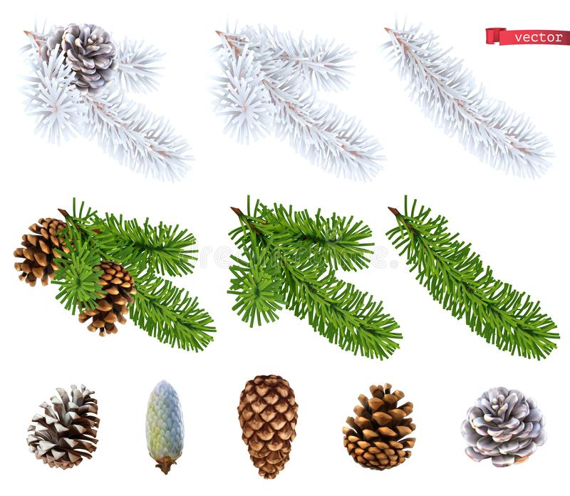 Χριστουγεννιάτικα δέντρα και κώνοι πεύκων τρισδιάστατο ρεαλιστικό διανυσματικό σύνολο εικονιδίων ελεύθερη απεικόνιση δικαιώματος