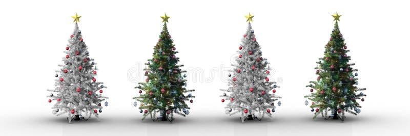 4 χριστουγεννιάτικα δέντρα σε μια σειρά με το άσπρο υπόβαθρο διανυσματική απεικόνιση