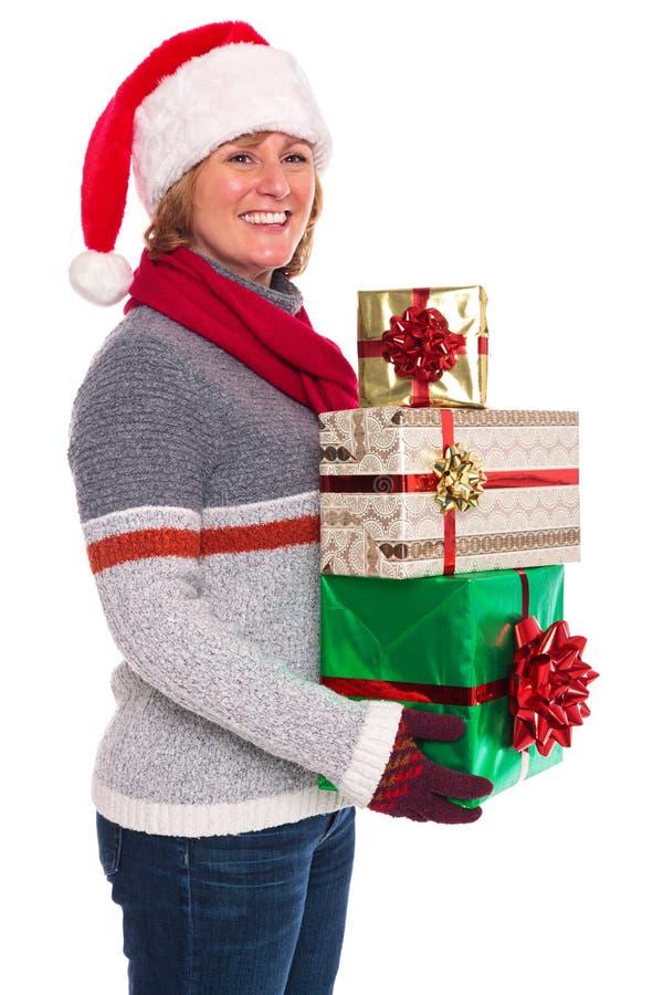 Χριστουγεννιάτικα δώρα εκμετάλλευσης γυναικών που απομονώνονται στοκ εικόνα