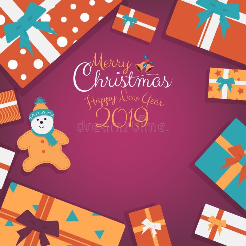 Χριστουγεννιάτικα δώρα, δώρα με τα κινούμενα σχέδια μπισκότων και γραπτό χέρι έμβλημα χειρογράφων με το διάστημα αντιγράφων διανυσματική απεικόνιση