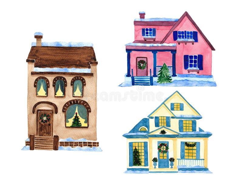 Χριστουγεννιάτικα σπίτια απεικόνιση αποθεμάτων