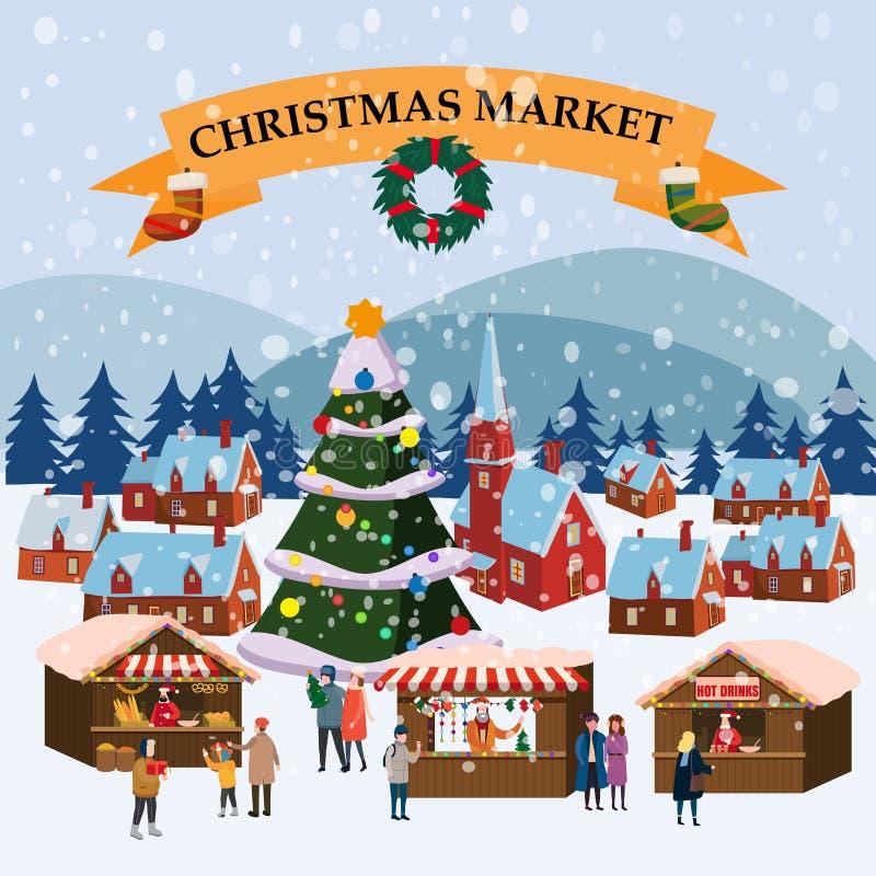 Χριστουγεννιάτικη αγορά ή γιορτή χειμώνας σε υπαίθρια έκθεση στην πλατεία της πόλης μεγάλο Πρωτοχρονιάτικο δέντρο Μεγάλο σύνολο α απεικόνιση αποθεμάτων