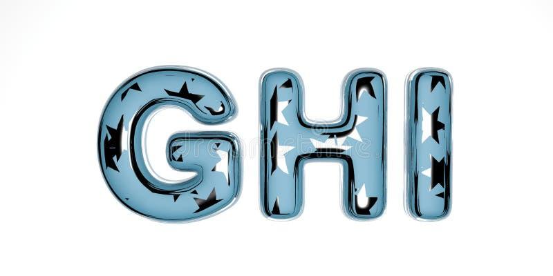 Χριστουγεννιάτικη γραμματοσειρά 3D από μπλε γυαλί με ασημένια αστέρια σε λευκό φόντο παρόμοιο με το χειμώνα Πρωτοχρονιά διανυσματική απεικόνιση