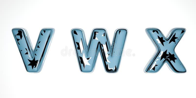 Χριστουγεννιάτικη γραμματοσειρά 3D από μπλε γυαλί με ασημένια αστέρια σε λευκό φόντο παρόμοιο με το χειμώνα Πρωτοχρονιά απεικόνιση αποθεμάτων