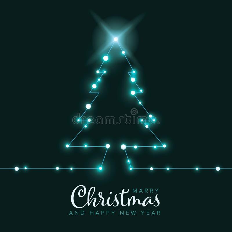 Χριστουγεννιάτικη κάρτα με δέντρο από αλυσίδα φωτός απεικόνιση αποθεμάτων