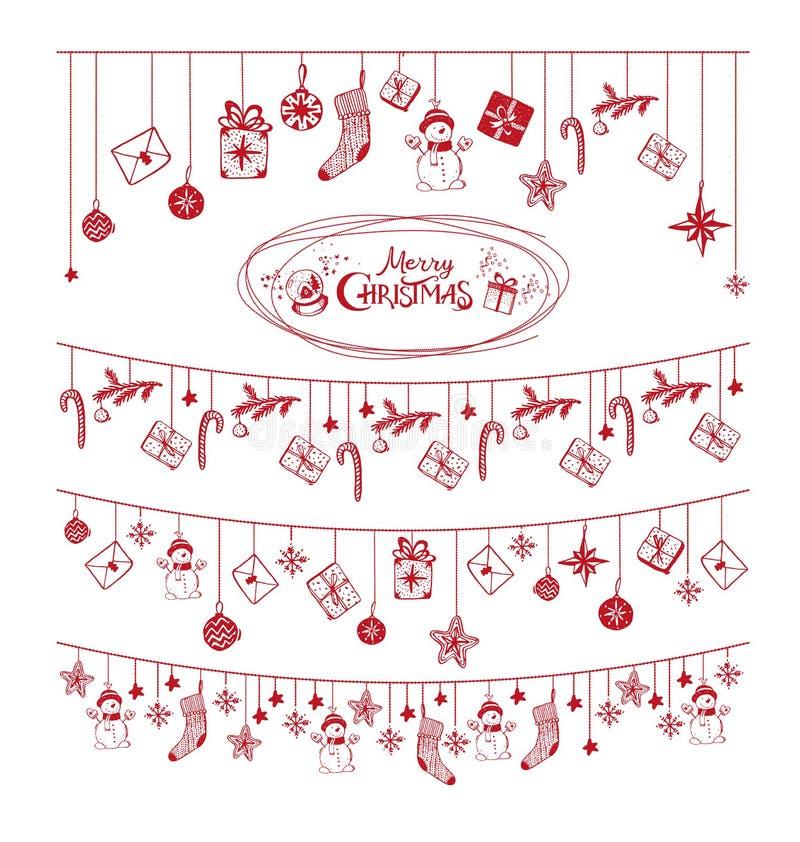 Χριστουγεννιάτικη κάρτα με κόκκινους εορταστικούς κήπους, χριστουγενΠαπεικόνιση αποθεμάτων
