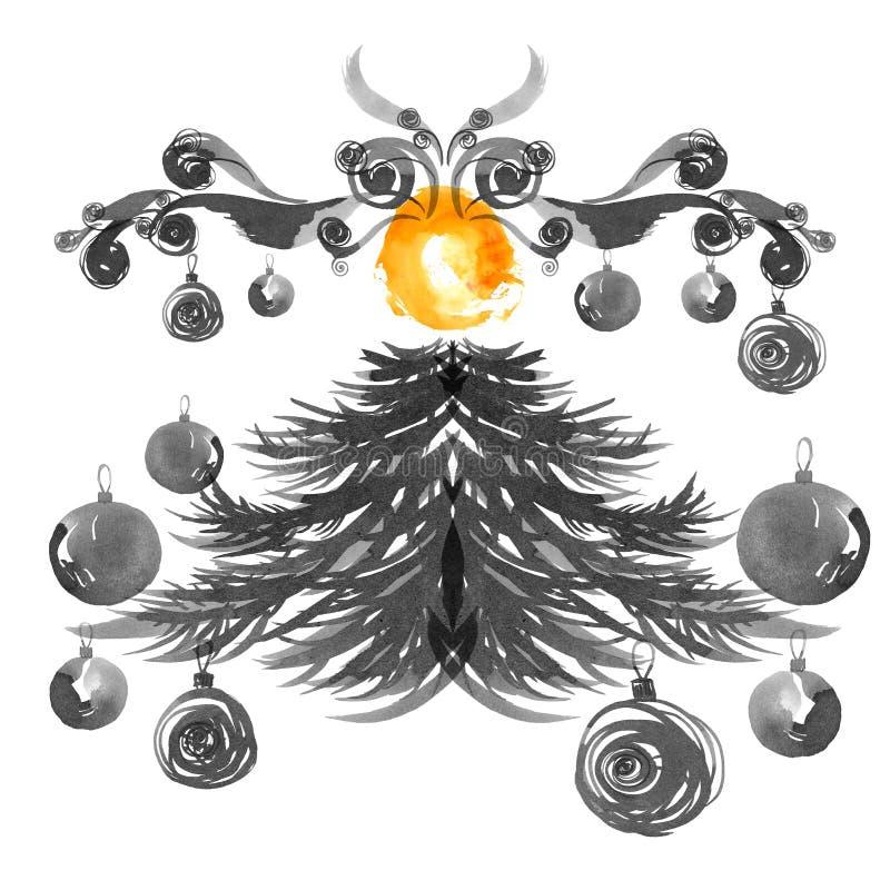 Χριστουγεννιάτικο δέντρο και λαμπτήρες Απεικόνιση μελανιού και watercolor Στοιχεία για το σχέδιο ευχετήριων καρτών διανυσματική απεικόνιση