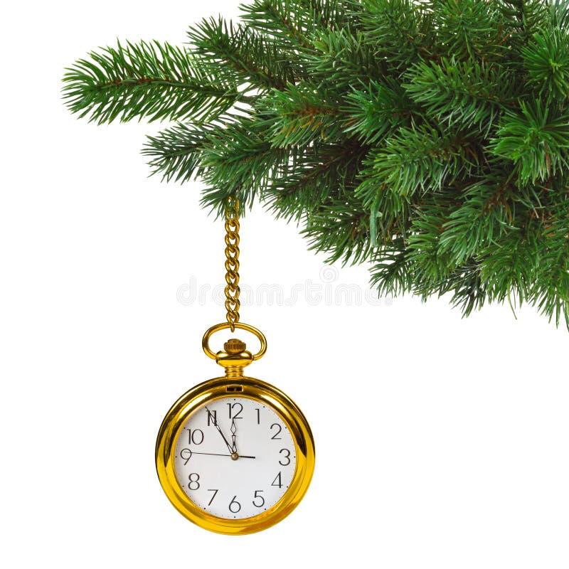 Download Χριστουγεννιάτικο δέντρο και ρολόι Στοκ Εικόνα - εικόνα από μεσάνυχτα, αριθμός: 62702485