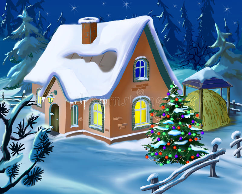 Χριστουγεννιάτικο δέντρο κοντά σε ένα μικρό εξοχικό σπίτι στη νέα παραμονή έτους διανυσματική απεικόνιση