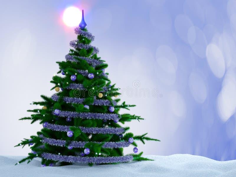 Χριστουγεννιάτικο δέντρο με τις διακοσμήσεις και χιόνι στο διακοσμητικό υπόβαθρο στοκ φωτογραφία