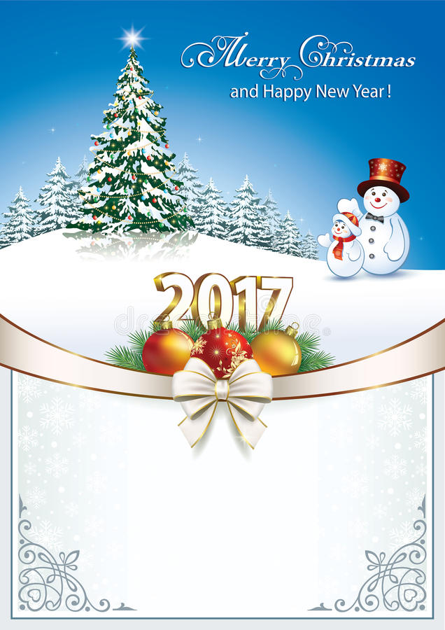 2017 χριστουγεννιάτικο δέντρο με τους χιονανθρώπους απεικόνιση αποθεμάτων