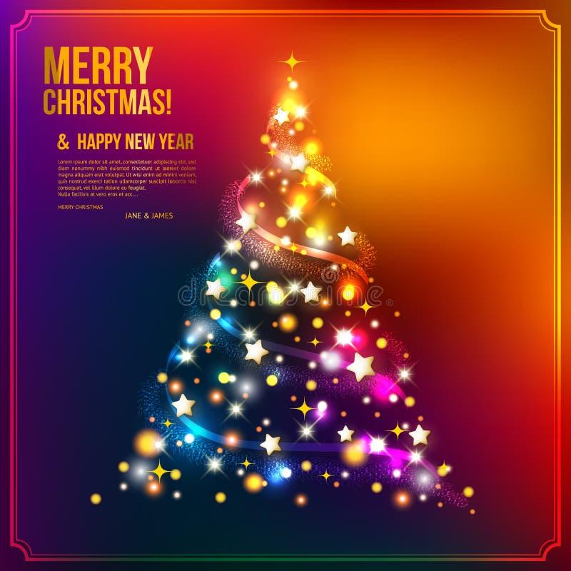 Χριστουγεννιάτικο δέντρο που γίνεται από τα φω'τα, τα αστέρια και την αλυσίδα διανυσματική απεικόνιση