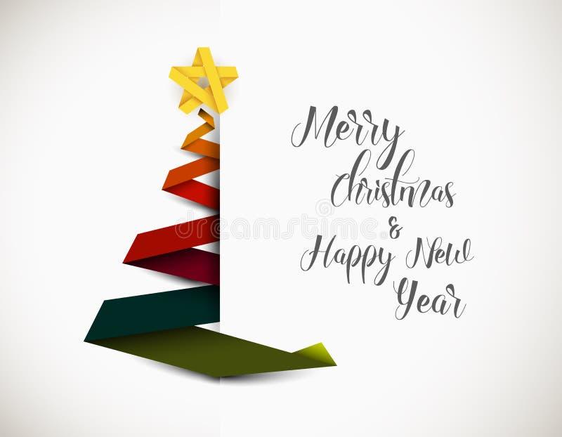 Χριστουγεννιάτικο δέντρο που γίνεται από το ζωηρόχρωμο λωρίδα εγγράφου απεικόνιση αποθεμάτων