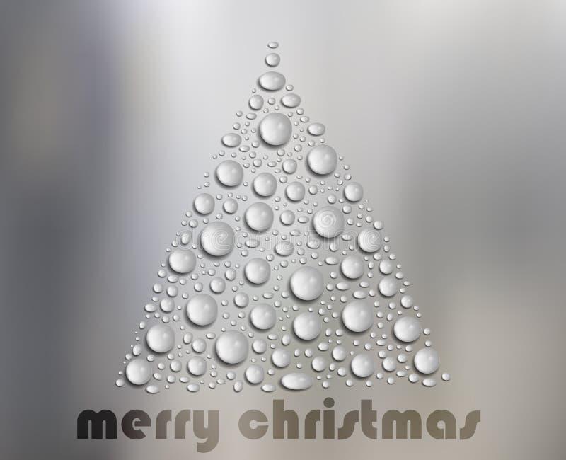 Χριστουγεννιάτικο δέντρο πτώσεων νερού στο άσπρο γυαλί ελεύθερη απεικόνιση δικαιώματος