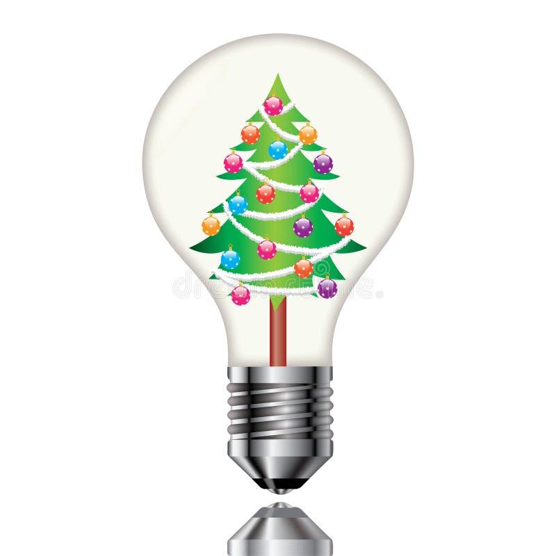 Χριστουγεννιάτικο δέντρο σε μια λάμπα φωτός ελεύθερη απεικόνιση δικαιώματος