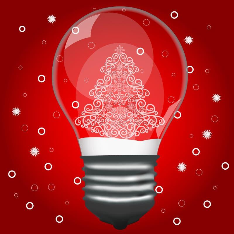 Χριστουγεννιάτικο δέντρο σε μια λάμπα φωτός απεικόνιση αποθεμάτων