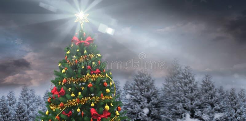 Χριστουγεννιάτικο δέντρο στο χιονώδες δάσος απεικόνιση αποθεμάτων