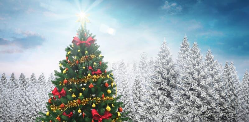 Χριστουγεννιάτικο δέντρο στο χιονώδες δάσος διανυσματική απεικόνιση