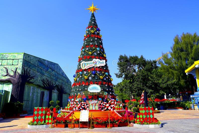 Χριστουγεννιάτικο δέντρο στο ωκεάνιο πάρκο, Χογκ Κογκ στοκ εικόνες με δικαίωμα ελεύθερης χρήσης
