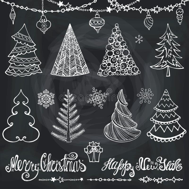 Χριστουγεννιάτικο δέντρο, σφαίρες, ντεκόρ, επιθυμίες chalkboard διανυσματική απεικόνιση