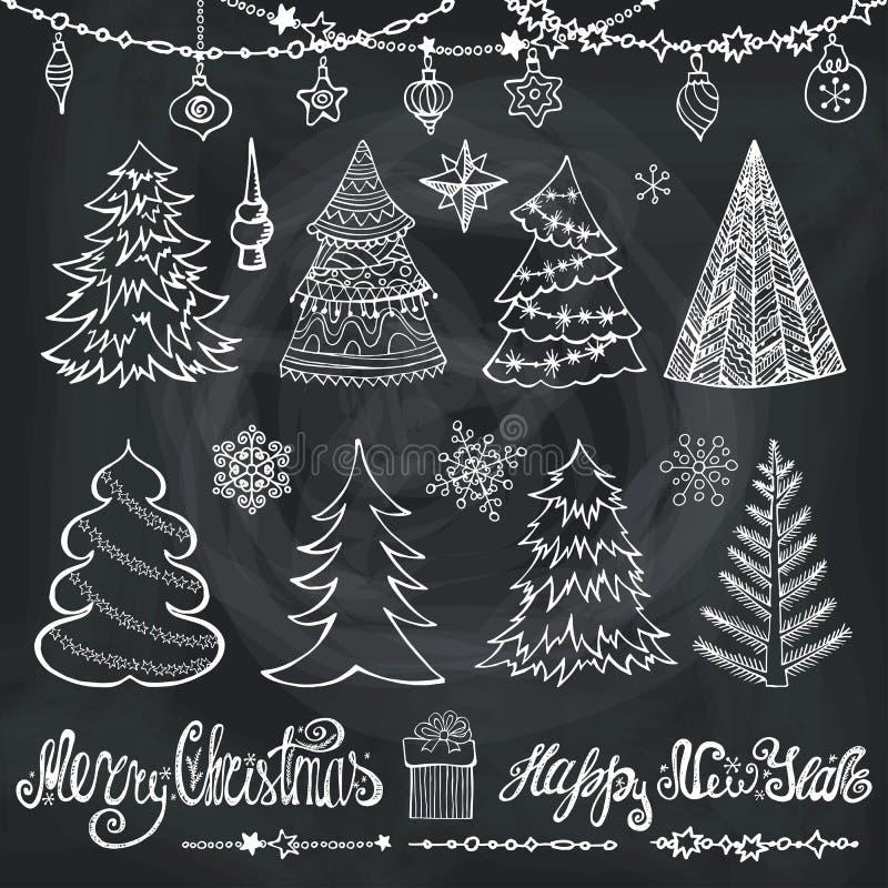 Χριστουγεννιάτικο δέντρο, σφαίρες, ντεκόρ, τίτλοι chalkboard ελεύθερη απεικόνιση δικαιώματος