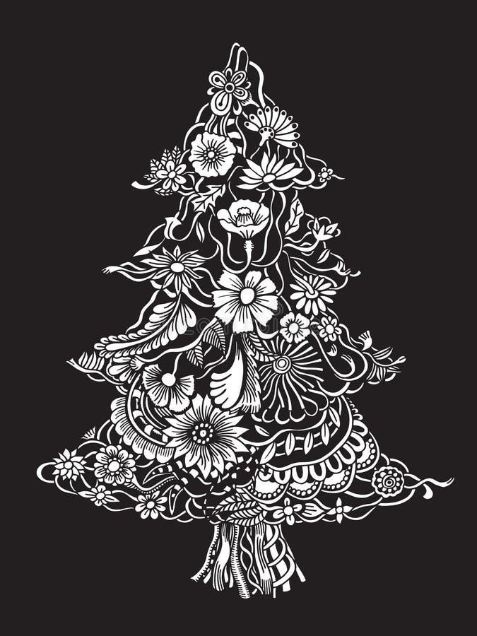 Χριστουγεννιάτικο δέντρο των λουλουδιών διανυσματική απεικόνιση
