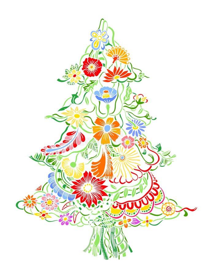 Χριστουγεννιάτικο δέντρο των λουλουδιών ελεύθερη απεικόνιση δικαιώματος