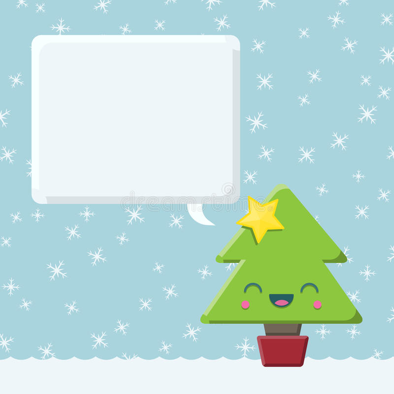Χριστουγεννιάτικο δέντρο Kawaii με τη λεκτική φυσαλίδα ελεύθερη απεικόνιση δικαιώματος