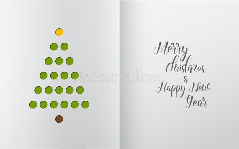 Χριστουγεννιάτικο δέντρο Minimalistic που γίνεται από τις τρύπες ελεύθερη απεικόνιση δικαιώματος