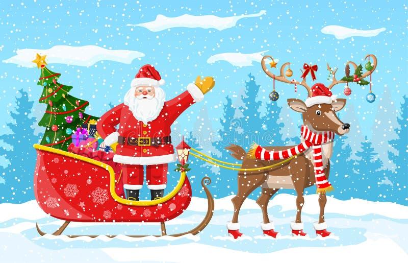 Χριστουγεννιάτικο δέντρο Άγιος Βασίλης με το έλκηθρο ταράνδων απεικόνιση αποθεμάτων