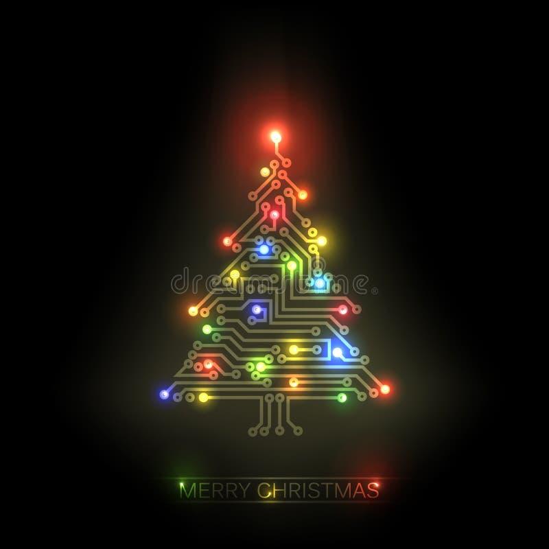 χριστουγεννιάτικο δέντρο από το ψηφιακό κύκλωμα διανυσματική απεικόνιση