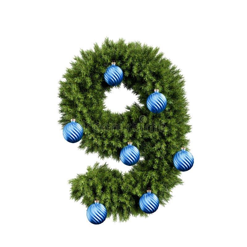 Χριστουγεννιάτικο δέντρο αριθμός 9 διανυσματική απεικόνιση