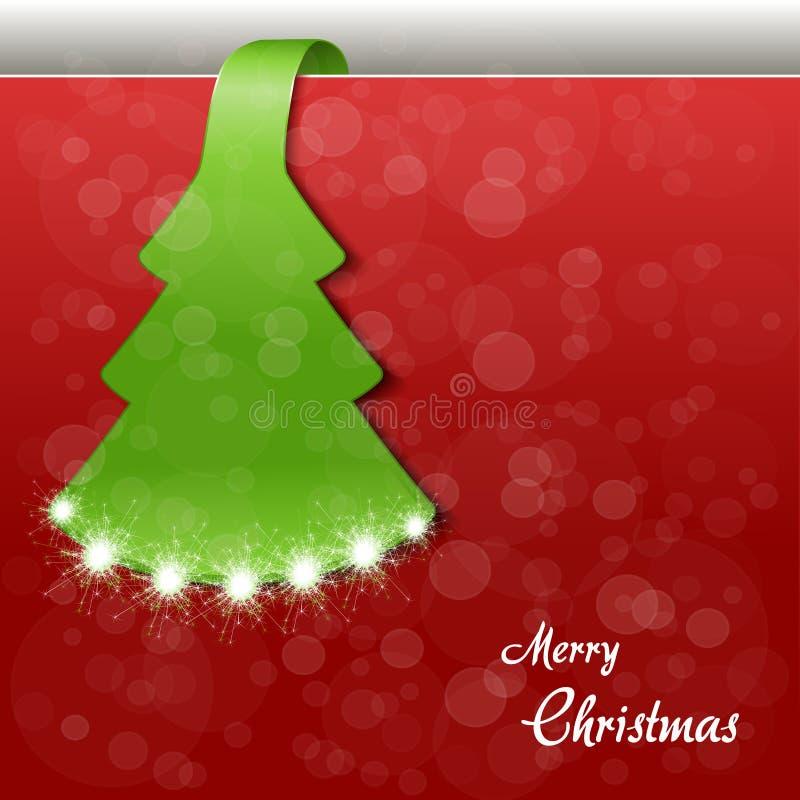 Χριστουγεννιάτικο δέντρο εγγράφου με τα σπινθηρίσματα - EPS 10 ελεύθερη απεικόνιση δικαιώματος