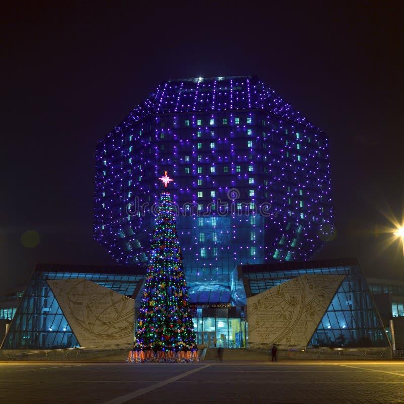 Χριστουγεννιάτικο δέντρο ενάντια στην εθνική βιβλιοθήκη στοκ εικόνα