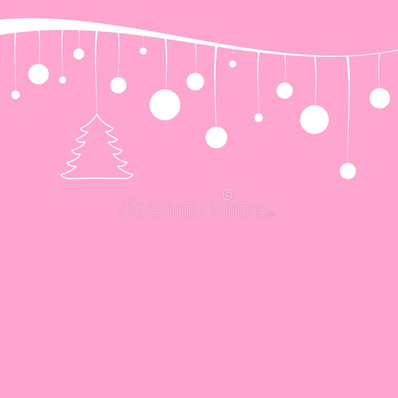 Χριστουγεννιάτικο δέντρο και άσπρες σφαίρες που κρεμούν σε μια άσπρη κορδέλλα στοκ φωτογραφίες