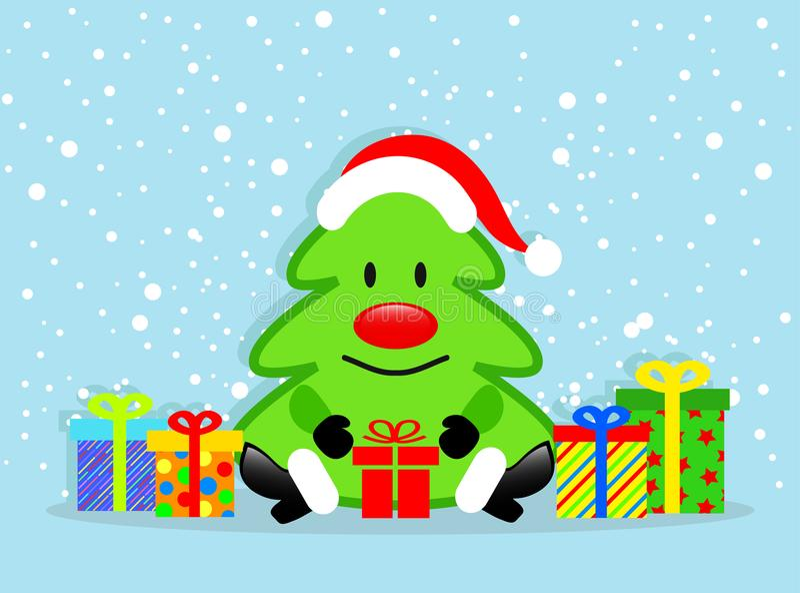 Χριστουγεννιάτικο δέντρο κινούμενων σχεδίων και ζωηρόχρωμα κιβώτια δώρων στην μπλε ΤΣΕ χιονιού ελεύθερη απεικόνιση δικαιώματος